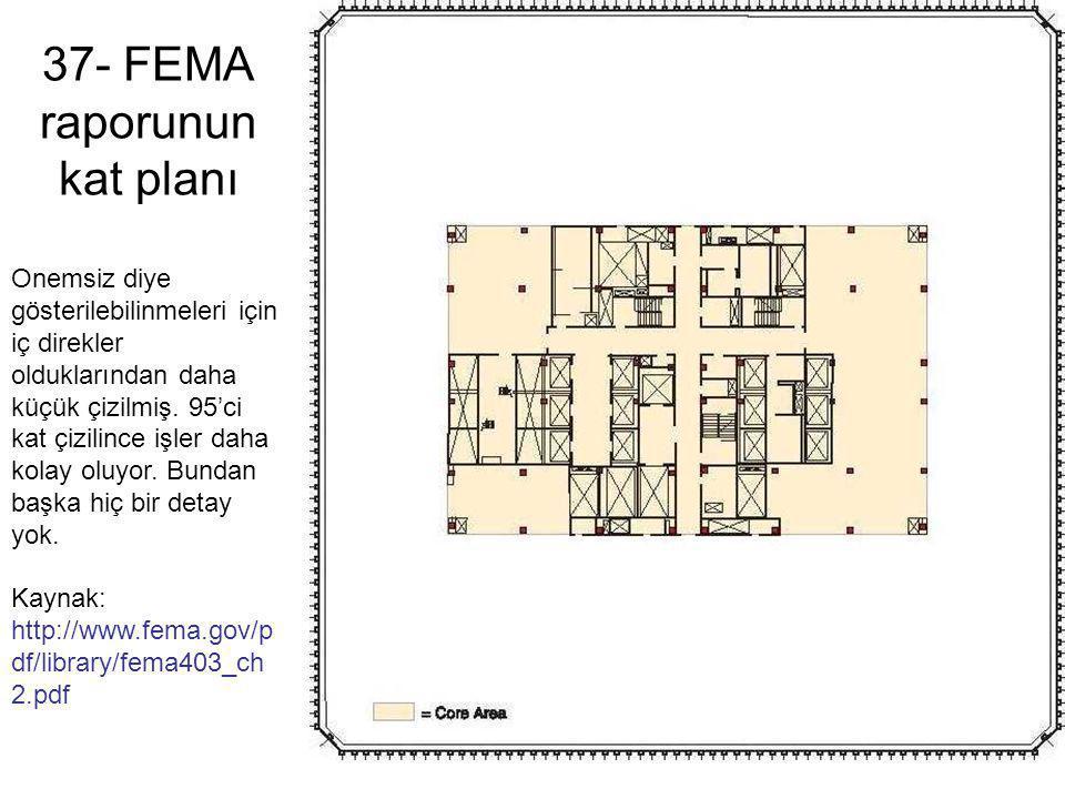 37- FEMA raporunun kat planı Onemsiz diye gösterilebilinmeleri için iç direkler olduklarından daha küçük çizilmiş. 95'ci kat çizilince işler daha kola