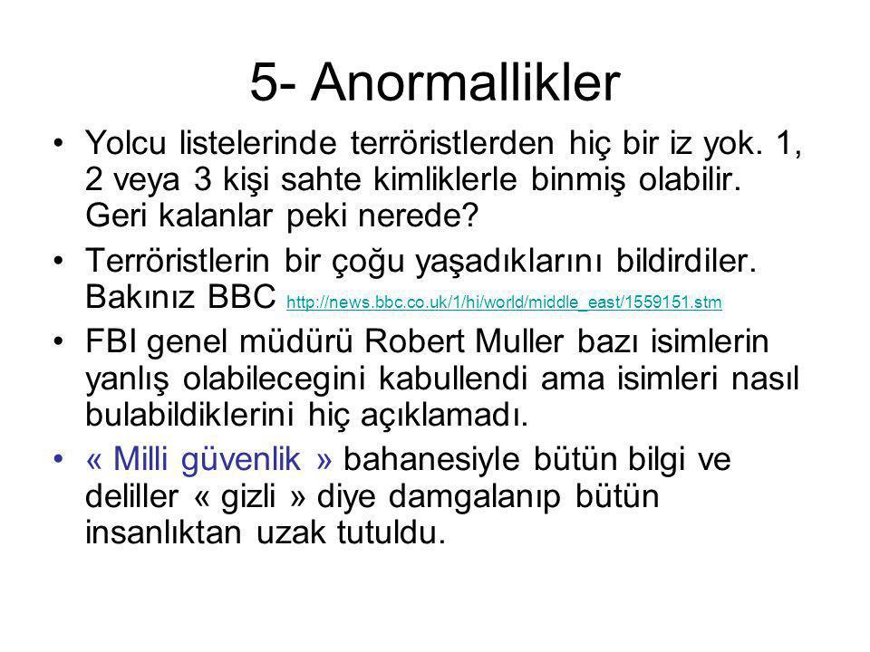 5- Anormallikler •Yolcu listelerinde terröristlerden hiç bir iz yok. 1, 2 veya 3 kişi sahte kimliklerle binmiş olabilir. Geri kalanlar peki nerede? •T