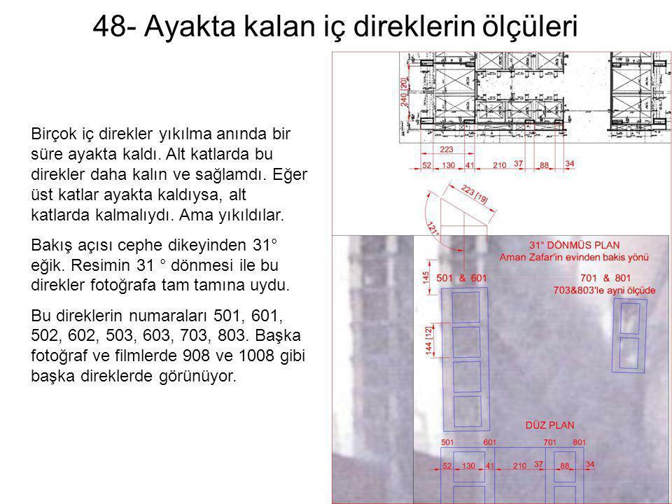 48- Ayakta kalan iç direklerin ölçüleri Birçok iç direkler yıkılma anında bir süre ayakta kaldı. Alt katlarda bu direkler daha kalın ve sağlamdı. Eğer