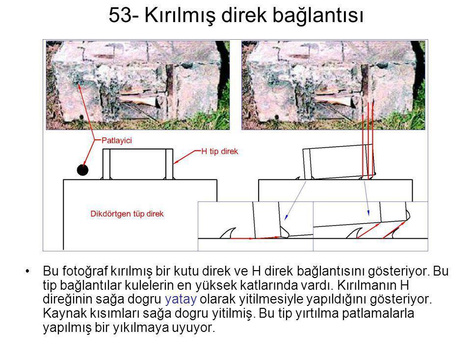 53- Kırılmış direk bağlantısı •Bu fotoğraf kırılmış bir kutu direk ve H direk bağlantısını gösteriyor. Bu tip bağlantılar kulelerin en yüksek katların