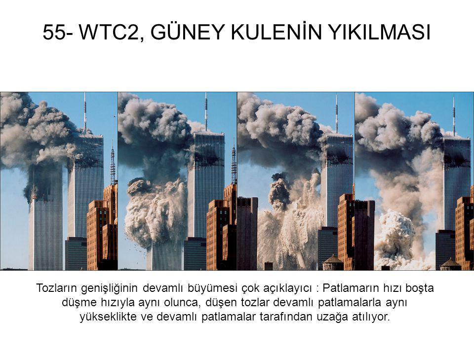 55- WTC2, GÜNEY KULENİN YIKILMASI Tozların genişliğinin devamlı büyümesi çok açıklayıcı : Patlamarın hızı boşta düşme hızıyla aynı olunca, düşen tozla