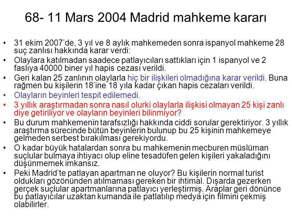 68- 11 Mars 2004 Madrid mahkeme kararı •31 ekim 2007'de, 3 yıl ve 8 aylık mahkemeden sonra ispanyol mahkeme 28 suç zanlısı hakkında karar verdi: •Olay