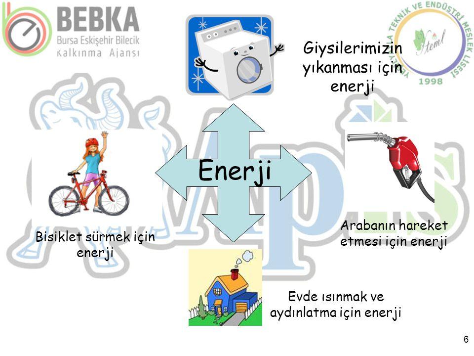 6 Enerji Bisiklet sürmek için enerji Giysilerimizin yıkanması için enerji Arabanın hareket etmesi için enerji Evde ısınmak ve aydınlatma için enerji