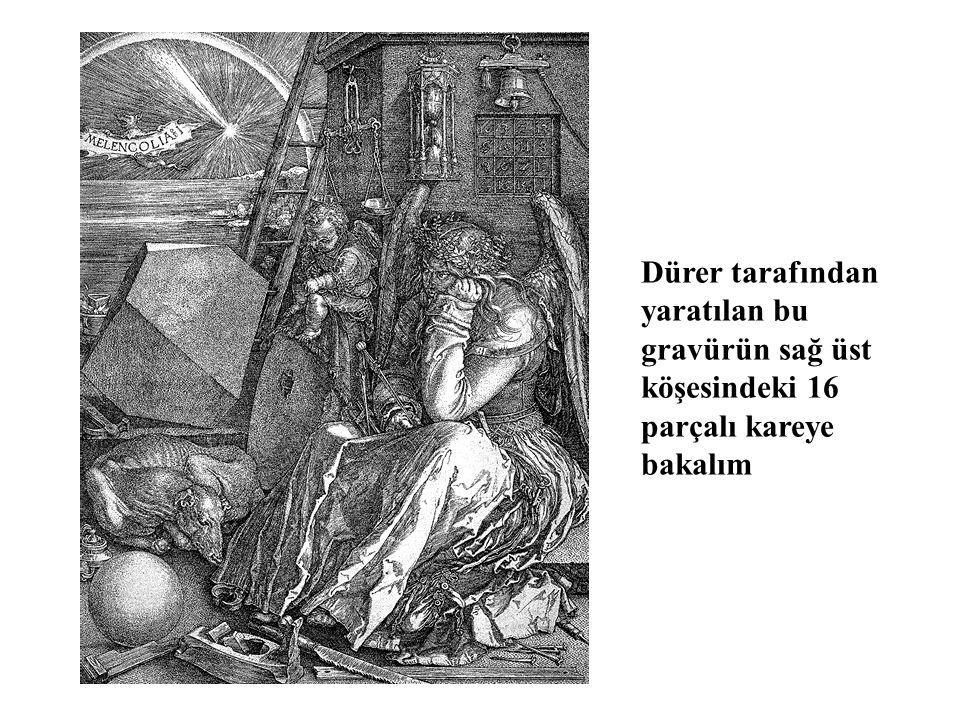 Dürer tarafından yaratılan bu gravürün sağ üst köşesindeki 16 parçalı kareye bakalım