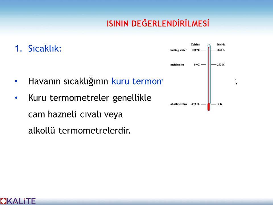1.Sıcaklık: • Havanın sıcaklığının kuru termometreler ile ölçülür. • Kuru termometreler genellikle cam hazneli cıvalı veya alkollü termometrelerdir. I