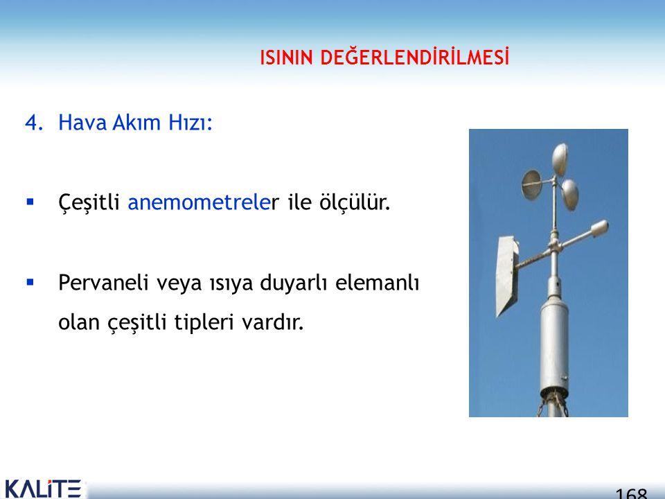 168 4.Hava Akım Hızı:  Çeşitli anemometreler ile ölçülür.  Pervaneli veya ısıya duyarlı elemanlı olan çeşitli tipleri vardır. ISININ DEĞERLENDİRİLME