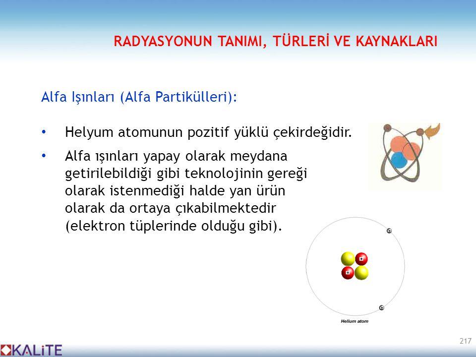 Alfa Işınları (Alfa Partikülleri): • Helyum atomunun pozitif yüklü çekirdeğidir. • Alfa ışınları yapay olarak meydana getirilebildiği gibi teknolojini