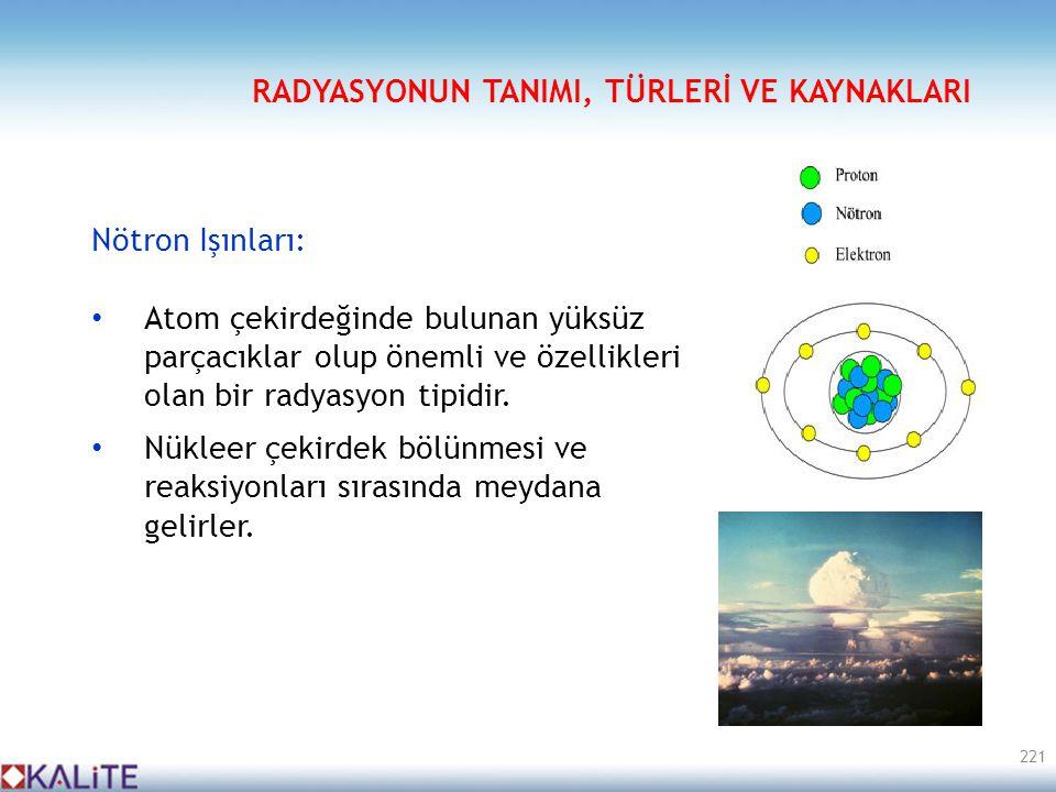 Nötron Işınları: • Atom çekirdeğinde bulunan yüksüz parçacıklar olup önemli ve özellikleri olan bir radyasyon tipidir. • Nükleer çekirdek bölünmesi ve