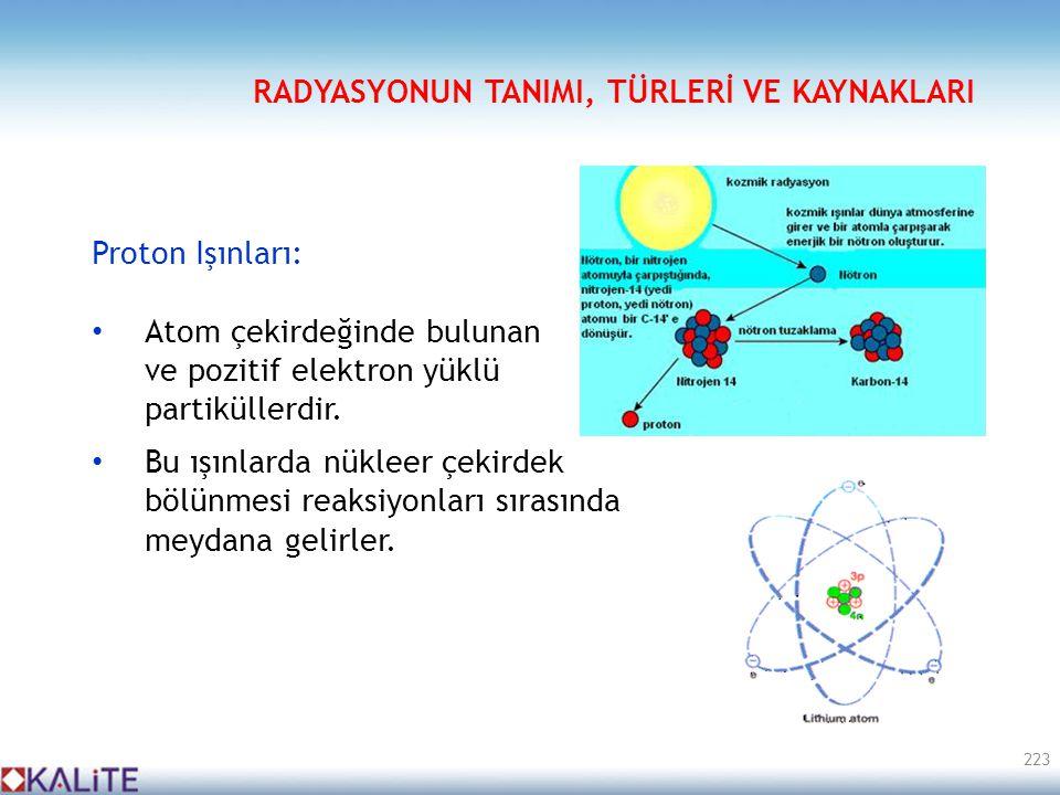 Proton Işınları: • Atom çekirdeğinde bulunan ve pozitif elektron yüklü partiküllerdir. • Bu ışınlarda nükleer çekirdek bölünmesi reaksiyonları sırasın