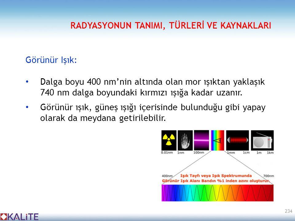 Görünür Işık: • Dalga boyu 400 nm'nin altında olan mor ışıktan yaklaşık 740 nm dalga boyundaki kırmızı ışığa kadar uzanır. • Görünür ışık, güneş ışığı