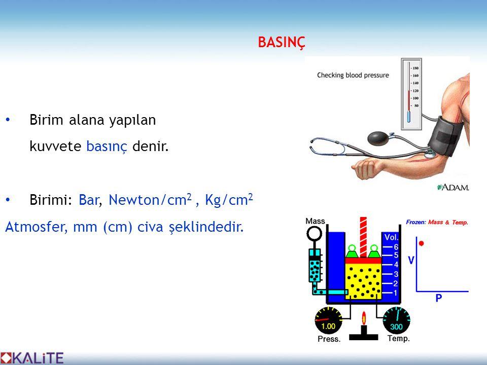 • Birim alana yapılan kuvvete basınç denir. • Birimi: Bar, Newton/cm 2, Kg/cm 2 Atmosfer, mm (cm) civa şeklindedir. BASINÇ