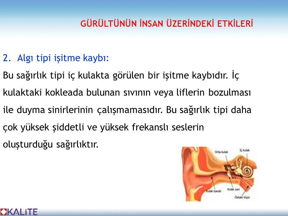 2.Algı tipi işitme kaybı: Bu sağırlık tipi iç kulakta görülen bir işitme kaybıdır. İç kulaktaki kokleada bulunan sıvının veya liflerin bozulması ile d