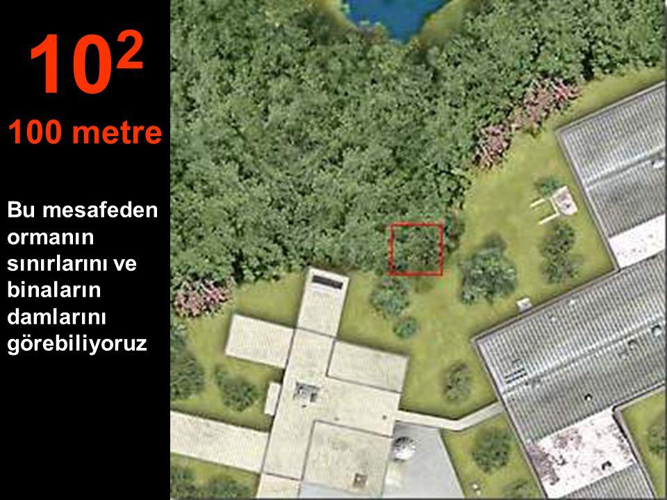 Bu mesafeden ormanın sınırlarını ve binaların damlarını görebiliyoruz 10 2 100 metre