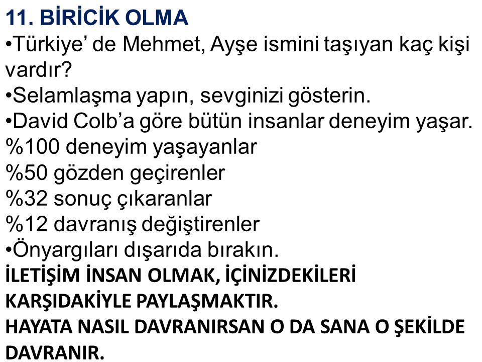 11. BİRİCİK OLMA •Türkiye' de Mehmet, Ayşe ismini taşıyan kaç kişi vardır? •Selamlaşma yapın, sevginizi gösterin. •David Colb'a göre bütün insanlar de