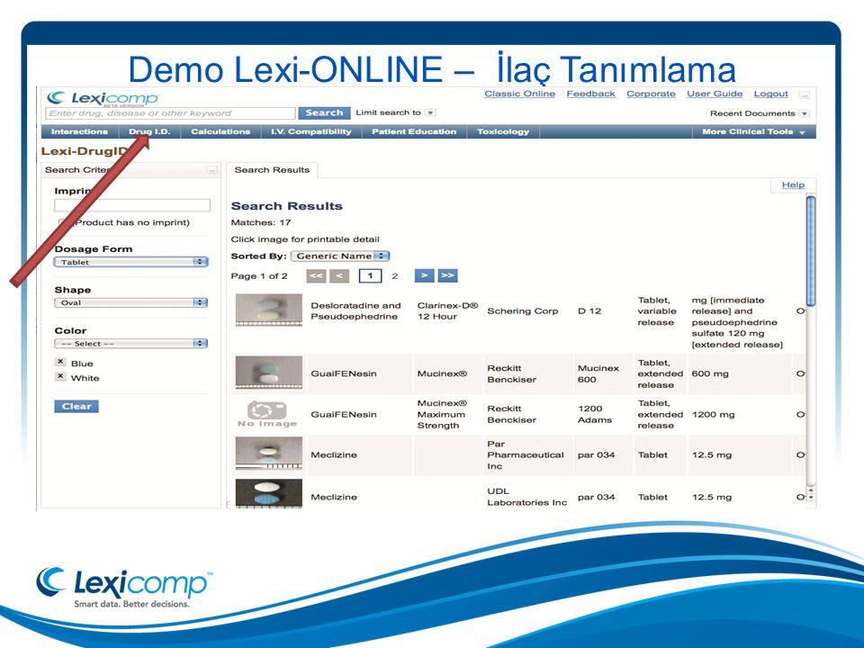 Demo Lexi-ONLINE – İlaç Tanımlama
