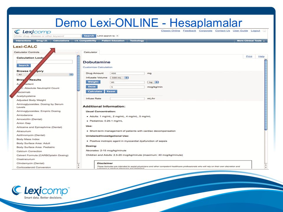 Demo Lexi-ONLINE - Hesaplamalar