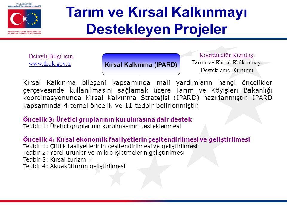 Kırsal Kalkınma (IPARD) Detaylı Bilgi için: www.tkdk.gov.tr Koordinatör Kuruluş: Tarım ve Kırsal Kalkınmayı Destekleme Kurumu Kırsal Kalkınma bileşeni kapsamında mali yardımların hangi öncelikler çerçevesinde kullanılmasını sağlamak üzere Tarım ve Köyişleri Bakanlığı koordinasyonunda Kırsal Kalkınma Stratejisi (IPARD) hazırlanmıştır.