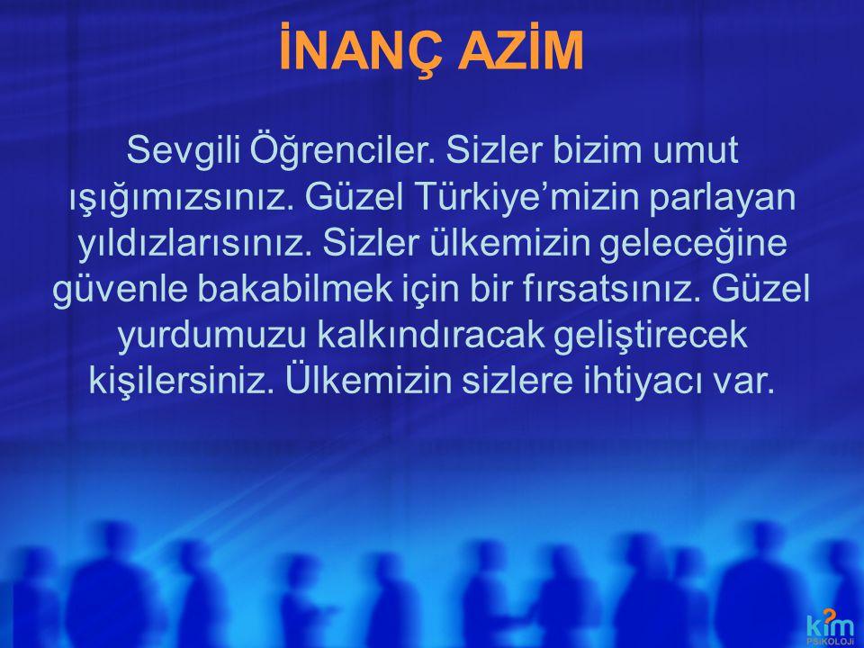 İNANÇ AZİM Sevgili Öğrenciler. Sizler bizim umut ışığımızsınız. Güzel Türkiye'mizin parlayan yıldızlarısınız. Sizler ülkemizin geleceğine güvenle baka