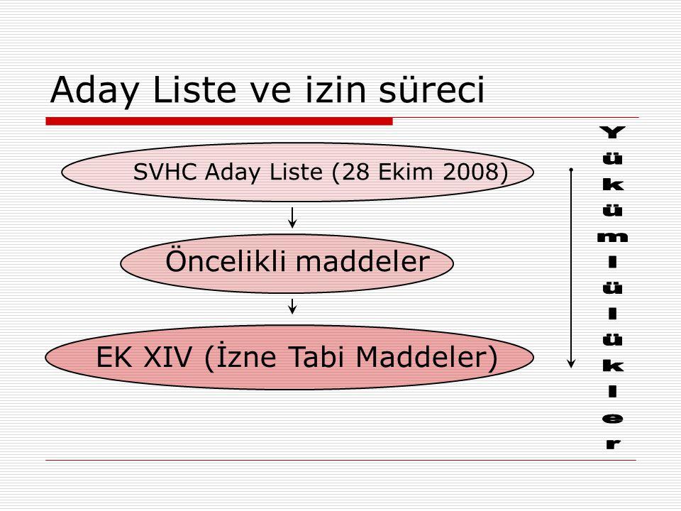 Aday Liste ve izin süreci Öncelikli maddeler SVHC Aday Liste (28 Ekim 2008) EK XIV (İzne Tabi Maddeler)