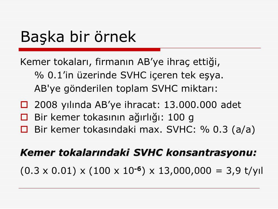 Başka bir örnek Kemer tokaları, firmanın AB'ye ihraç ettiği, % 0.1'in üzerinde SVHC içeren tek eşya. AB'ye gönderilen toplam SVHC miktarı:  2008 yılı