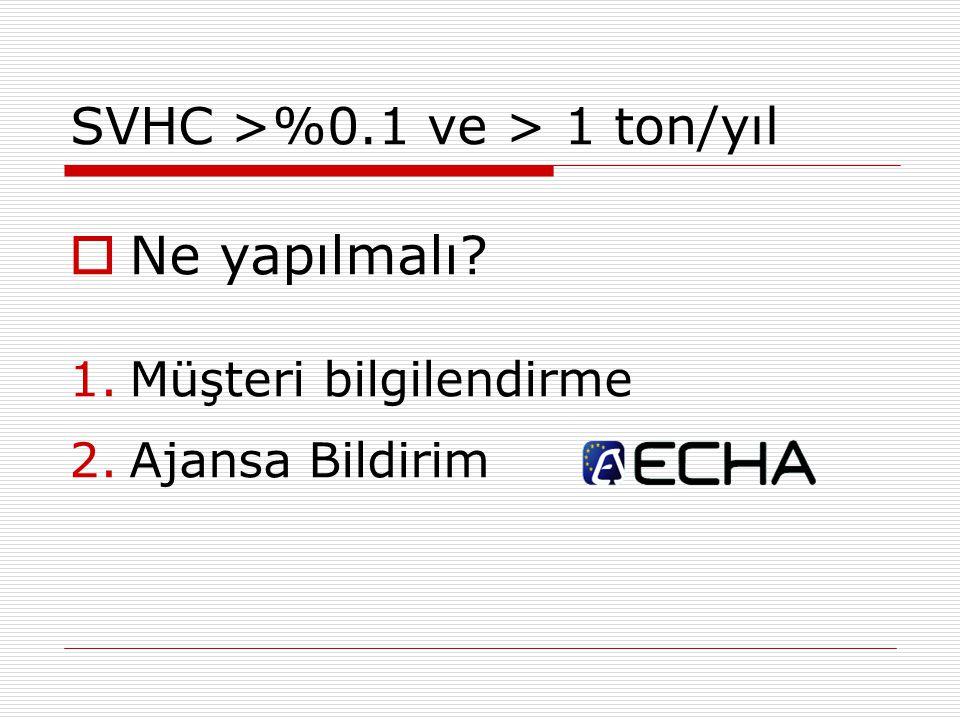 SVHC >%0.1 ve > 1 ton/yıl  Ne yapılmalı? 1.Müşteri bilgilendirme 2.Ajansa Bildirim