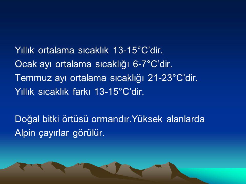 Yıllık ortalama sıcaklık 13-15°C'dir. Ocak ayı ortalama sıcaklığı 6-7°C'dir. Temmuz ayı ortalama sıcaklığı 21-23°C'dir. Yıllık sıcaklık farkı 13-15°C'