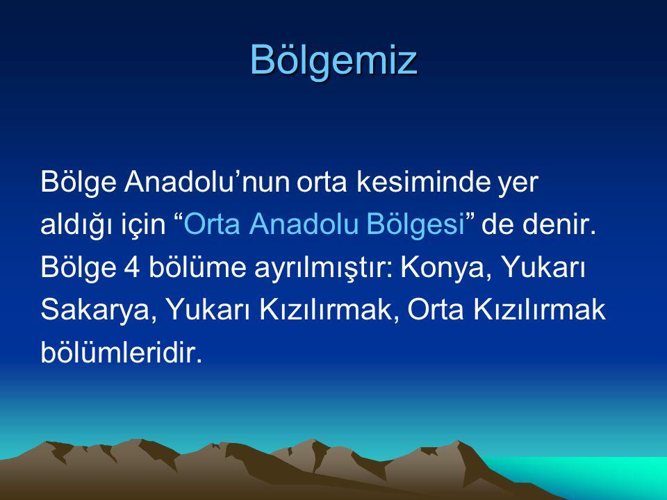 """Bölgemiz Bölge Anadolu'nun orta kesiminde yer aldığı için """"Orta Anadolu Bölgesi"""" de denir. Bölge 4 bölüme ayrılmıştır: Konya, Yukarı Sakarya, Yukarı K"""
