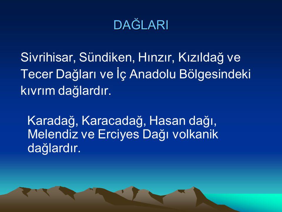 DAĞLARI Sivrihisar, Sündiken, Hınzır, Kızıldağ ve Tecer Dağları ve İç Anadolu Bölgesindeki kıvrım dağlardır. Karadağ, Karacadağ, Hasan dağı, Melendiz
