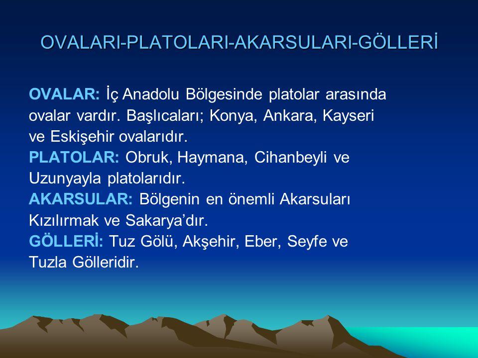OVALARI-PLATOLARI-AKARSULARI-GÖLLERİ OVALAR: İç Anadolu Bölgesinde platolar arasında ovalar vardır. Başlıcaları; Konya, Ankara, Kayseri ve Eskişehir o