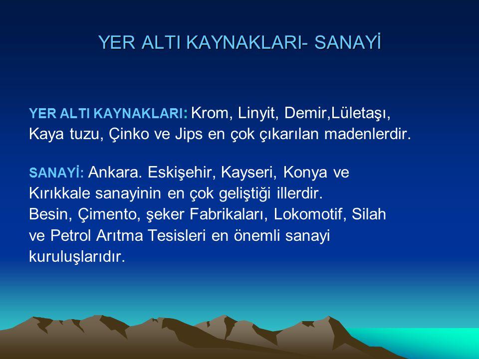 YER ALTI KAYNAKLARI- SANAYİ YER ALTI KAYNAKLARI : Krom, Linyit, Demir,Lületaşı, Kaya tuzu, Çinko ve Jips en çok çıkarılan madenlerdir. SANAYİ: Ankara.