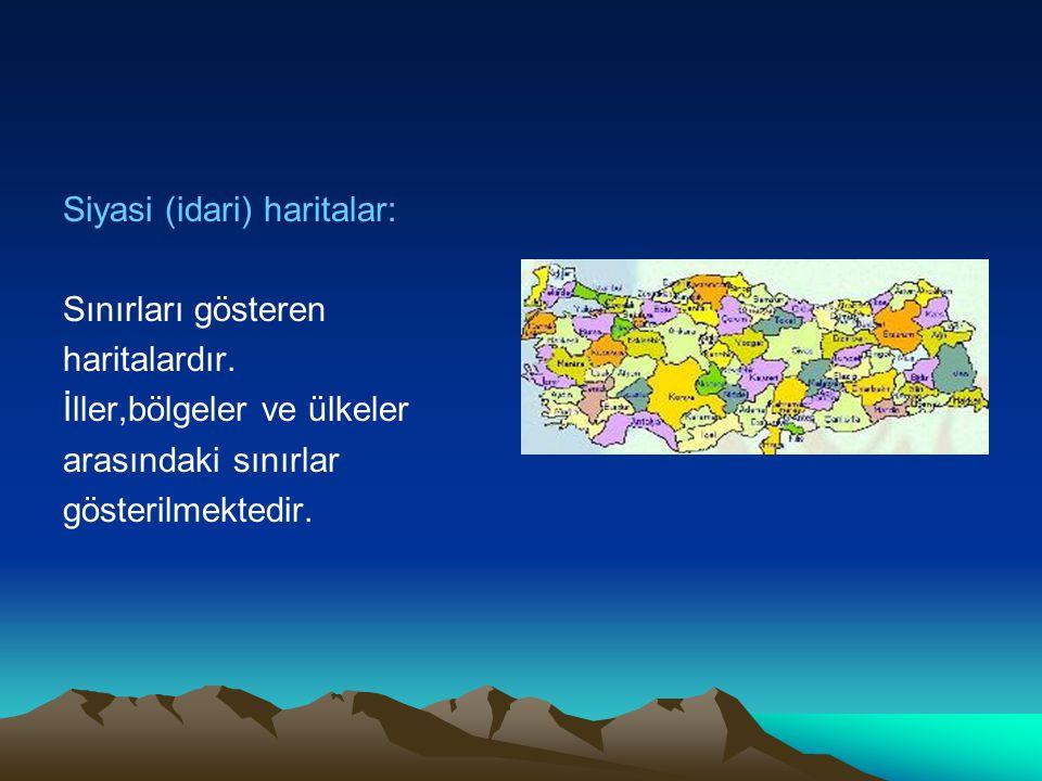 Siyasi (idari) haritalar: Sınırları gösteren haritalardır. İller,bölgeler ve ülkeler arasındaki sınırlar gösterilmektedir.