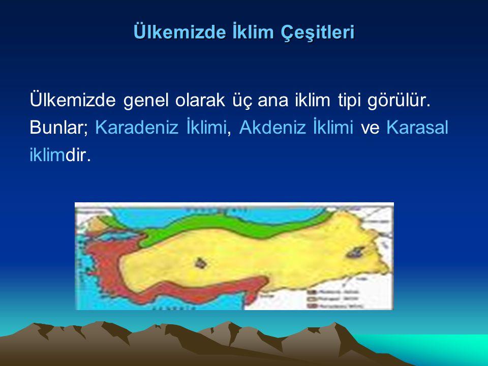 Ülkemizde İklim Çeşitleri Ülkemizde genel olarak üç ana iklim tipi görülür. Bunlar; Karadeniz İklimi, Akdeniz İklimi ve Karasal iklimdir.