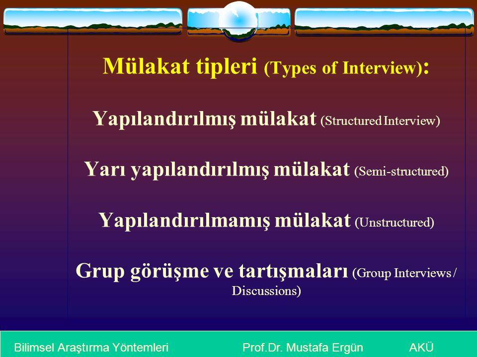 Mülakat tipleri (Types of Interview) : Yapılandırılmış mülakat (Structured Interview) Yarı yapılandırılmış mülakat (Semi-structured) Yapılandırılmamış