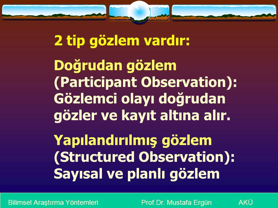 2 tip gözlem vardır: Doğrudan gözlem (Participant Observation): Gözlemci olayı doğrudan gözler ve kayıt altına alır. Yapılandırılmış gözlem (Structure