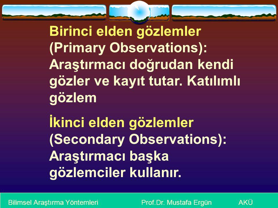 Bilimsel Araştırma Yöntemleri Prof.Dr. Mustafa Ergün AKÜ Birinci elden gözlemler (Primary Observations): Araştırmacı doğrudan kendi gözler ve kayıt tu