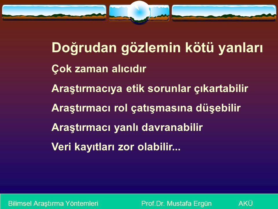 Bilimsel Araştırma Yöntemleri Prof.Dr. Mustafa Ergün AKÜ Doğrudan gözlemin kötü yanları Çok zaman alıcıdır Araştırmacıya etik sorunlar çıkartabilir Ar