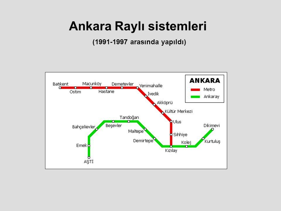 Ankara Raylı sistemleri (1991-1997 arasında yapıldı)