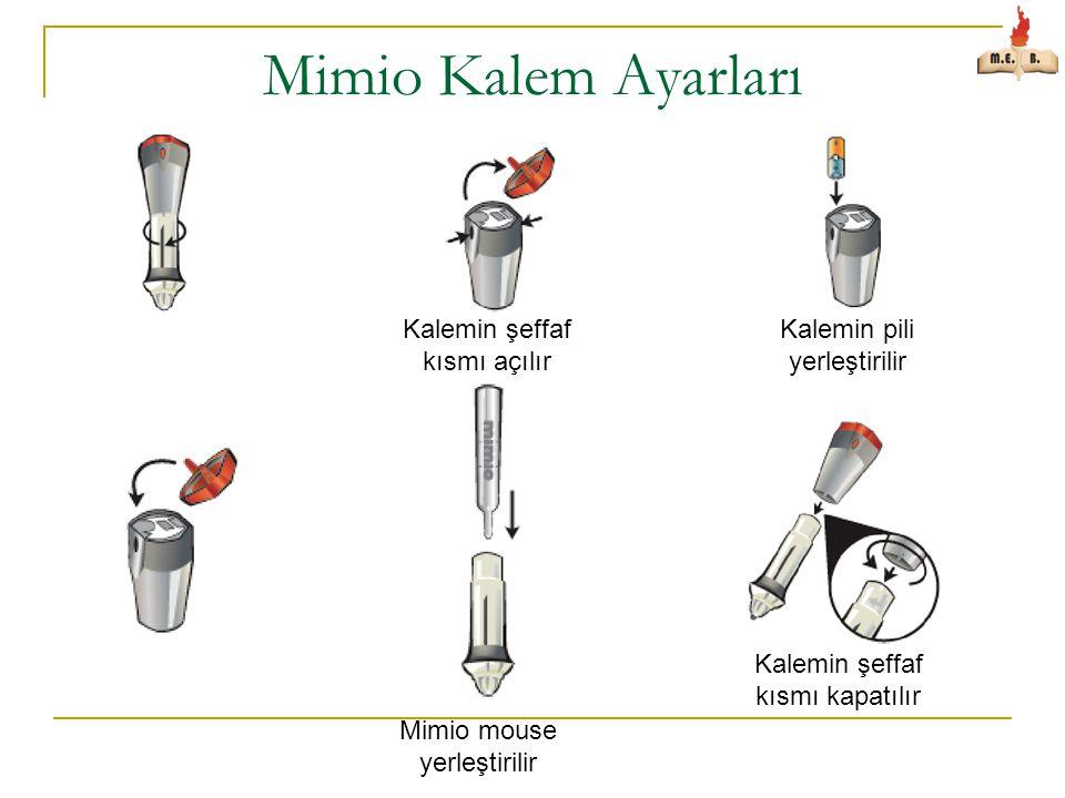 Mimio Kalem Ayarları Mimio mouse yerleştirilir Kalemin şeffaf kısmı açılır Kalemin pili yerleştirilir Kalemin şeffaf kısmı kapatılır