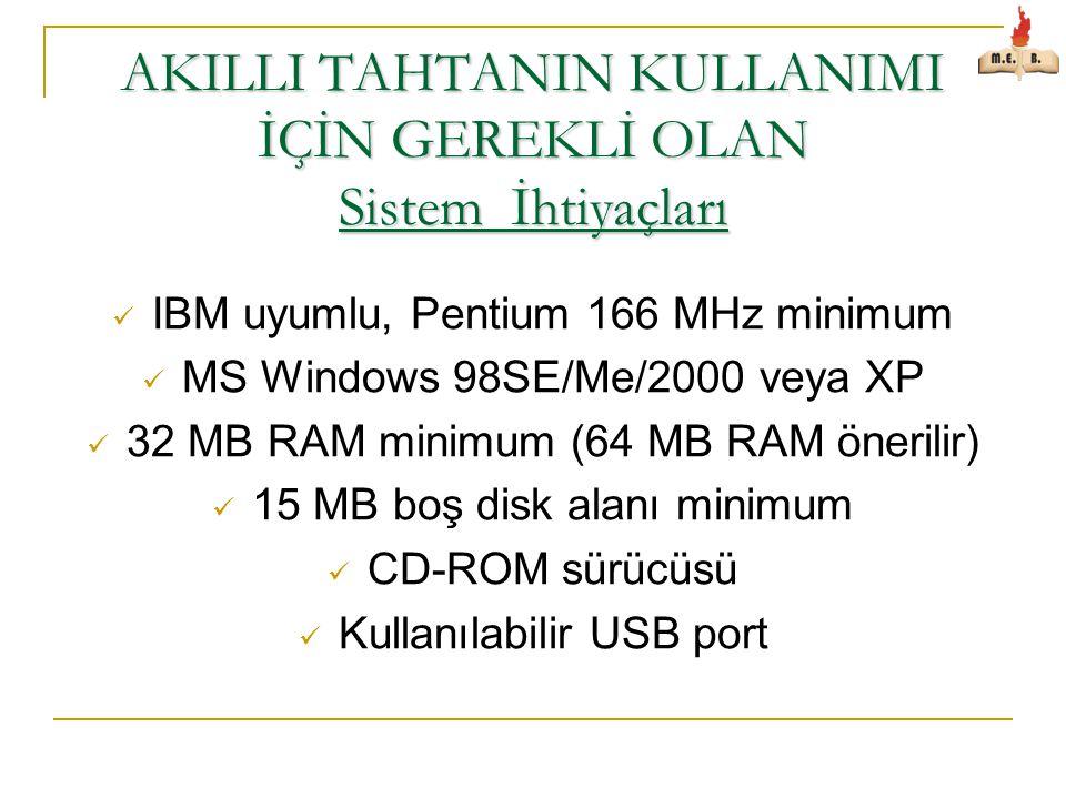 AKILLI TAHTANIN KULLANIMI İÇİN GEREKLİ OLAN Sistem İhtiyaçları  IBM uyumlu, Pentium 166 MHz minimum  MS Windows 98SE/Me/2000 veya XP  32 MB RAM minimum (64 MB RAM önerilir)  15 MB boş disk alanı minimum  CD-ROM sürücüsü  Kullanılabilir USB port