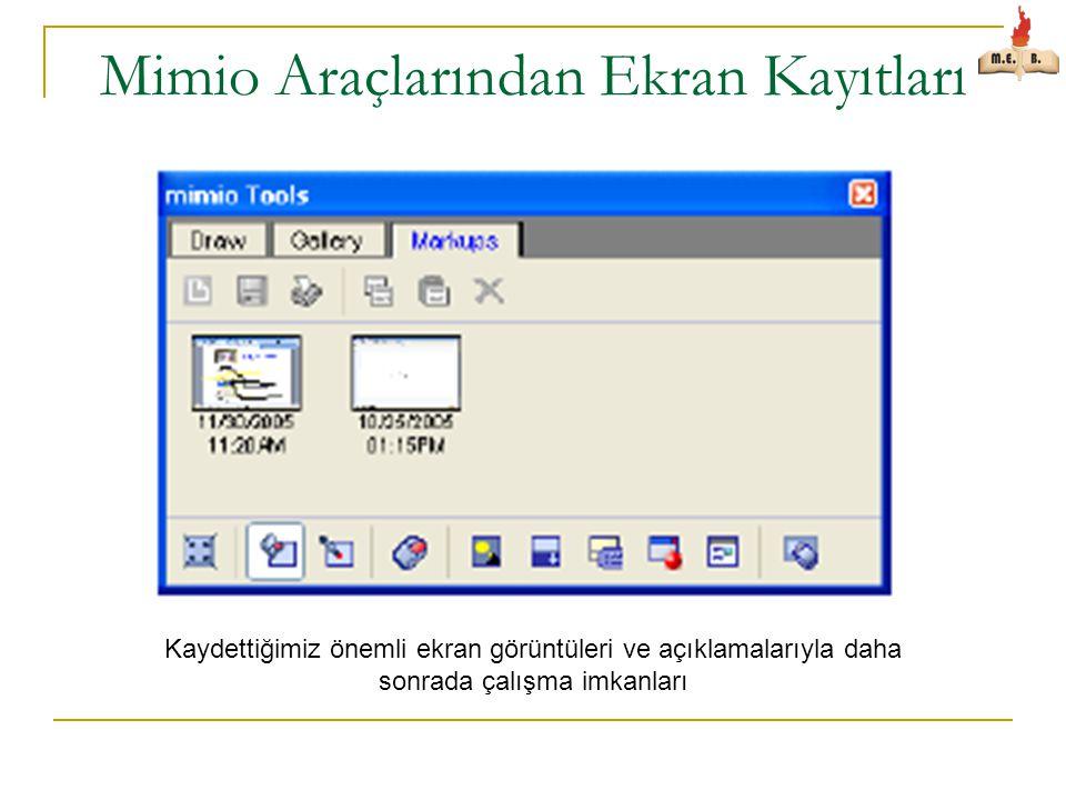 Mimio Araçlarından Ekran Kayıtları Kaydettiğimiz önemli ekran görüntüleri ve açıklamalarıyla daha sonrada çalışma imkanları