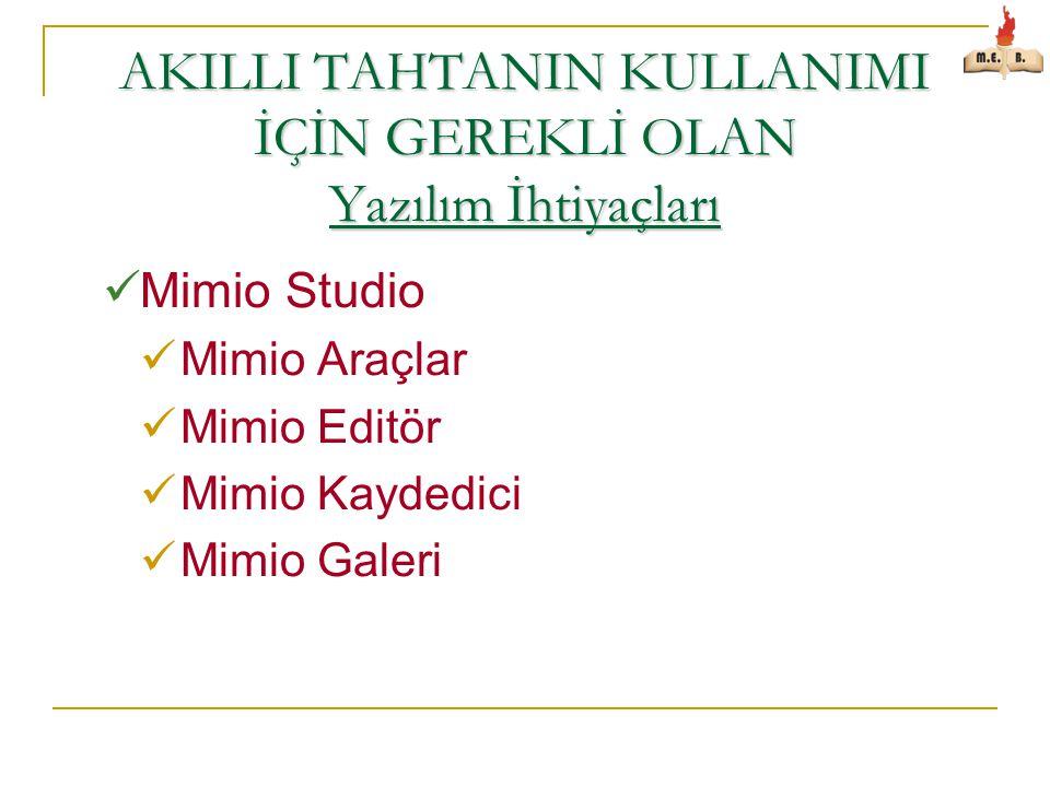 AKILLI TAHTANIN KULLANIMI İÇİN GEREKLİ OLAN Yazılım İhtiyaçları  Mimio Studio  Mimio Araçlar  Mimio Editör  Mimio Kaydedici  Mimio Galeri