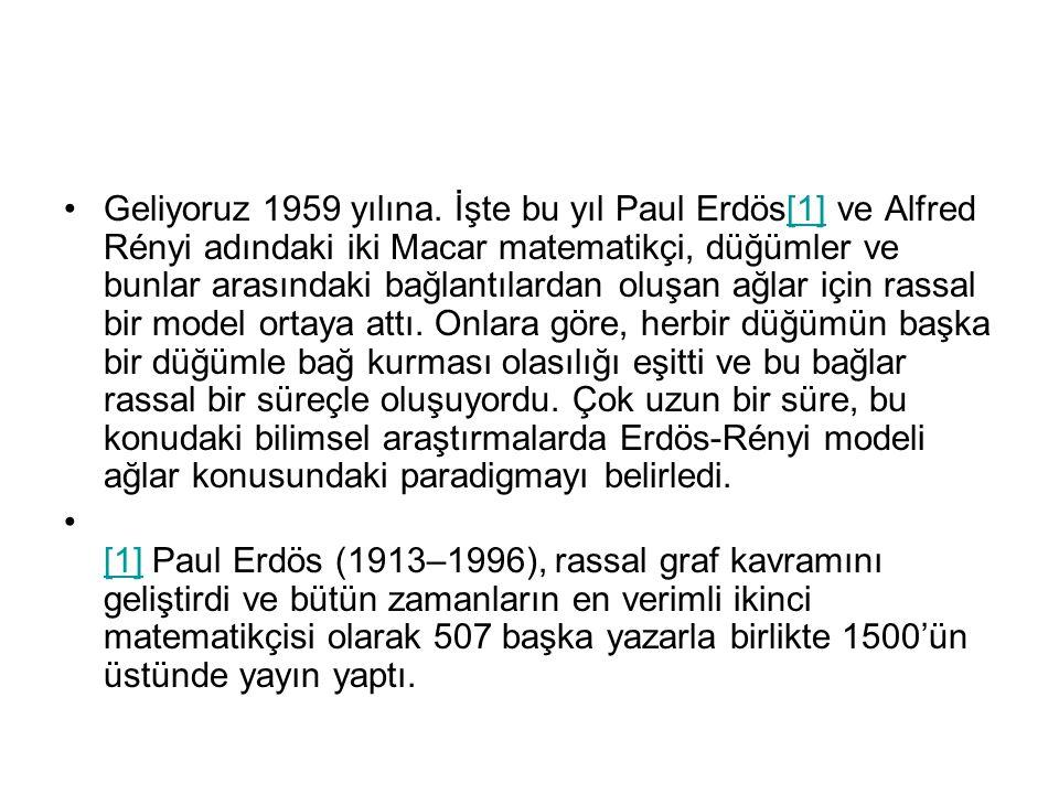 •Geliyoruz 1959 yılına. İşte bu yıl Paul Erdös[1] ve Alfred Rényi adındaki iki Macar matematikçi, düğümler ve bunlar arasındaki bağlantılardan oluşan