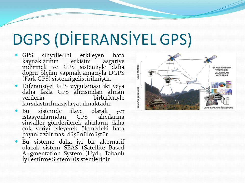 DGPS (DİFERANSİYEL GPS)  GPS sinyallerini etkileyen hata kaynaklarının etkisini asgariye indirmek ve GPS sistemiyle daha doğru ölçüm yapmak amacıyla