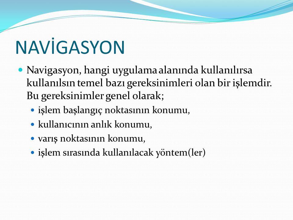 NAVİGASYON  Navigasyon, hangi uygulama alanında kullanılırsa kullanılsın temel bazı gereksinimleri olan bir işlemdir. Bu gereksinimler genel olarak;