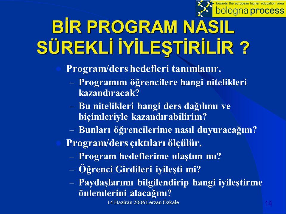 14 Haziran 2006 Lerzan Özkale BİR PROGRAM NASIL SÜREKLİ İYİLEŞTİRİLİR ?  Program/ders hedefleri tanımlanır. – Programım öğrencilere hangi nitelikleri