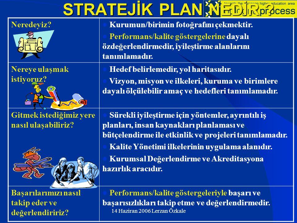 14 Haziran 2006 Lerzan Özkale Stratejik Planda Kalite Güvencesi İçin Performans/Kalite Göstergeleri (EUA) (Özdeğerlendirme ve İyileştirme Alanları)  Yeni Öğrencilerin Nitelikleri – Öğrencilerin geldikleri okullar – Öğrencilerin geldikleri bölge ve kentler – Bölge/kent/ülke dışı öğrenci oranı – Başvuru/kabul oranı – Programa Giriş Puanı  Öğrenci Performansı – Yatay ve dikey geçiş sayıları – Öğrencilerin kurumla bütünleşme ve danışmanlık hizmetleri – Mezun oranları – Ortalama mezuniyet yılı – Mezuniyetten sonra iş bulma süre ve oranları