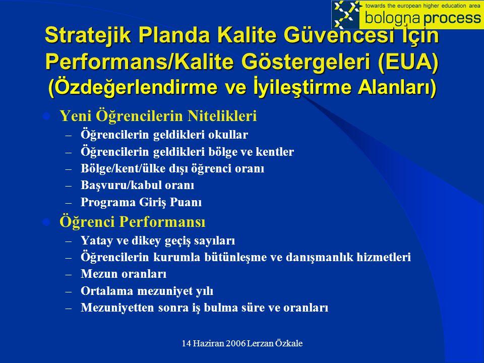 14 Haziran 2006 Lerzan Özkale Stratejik Planda Kalite Güvencesi İçin Performans/Kalite Göstergeleri (EUA) (Özdeğerlendirme ve İyileştirme Alanları) 