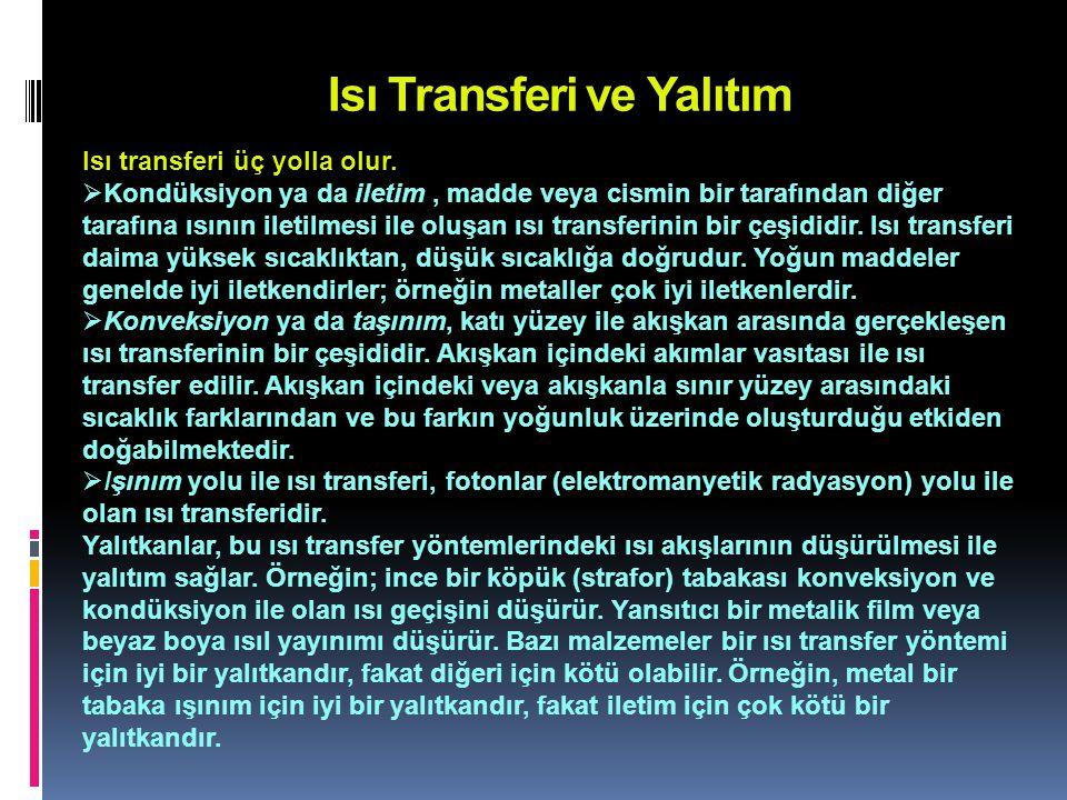 Isı Transferi ve Yalıtım Isı transferi üç yolla olur.  Kondüksiyon ya da iletim, madde veya cismin bir tarafından diğer tarafına ısının iletilmesi il