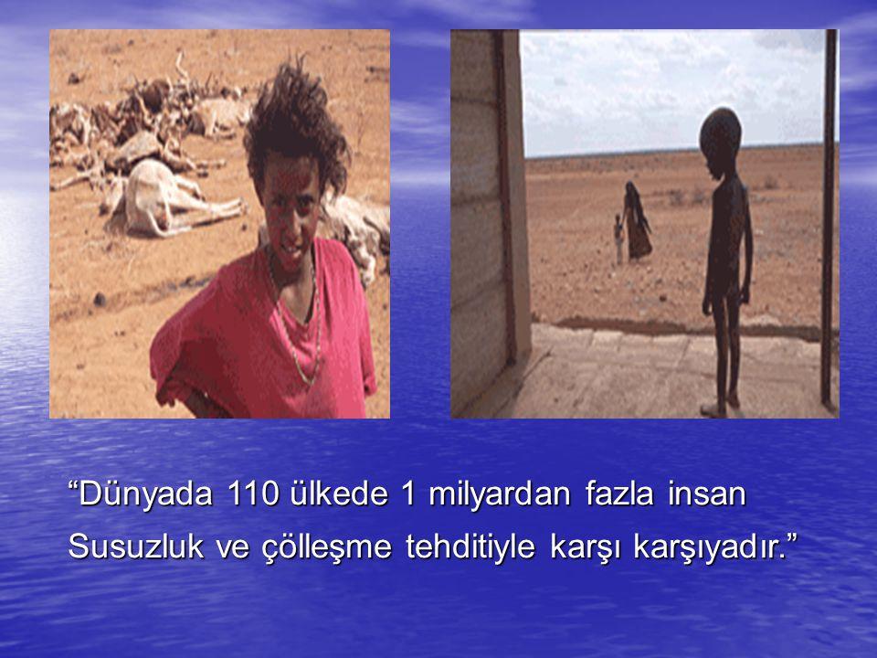 Dünyada 110 ülkede 1 milyardan fazla insan Susuzluk ve çölleşme tehditiyle karşı karşıyadır.