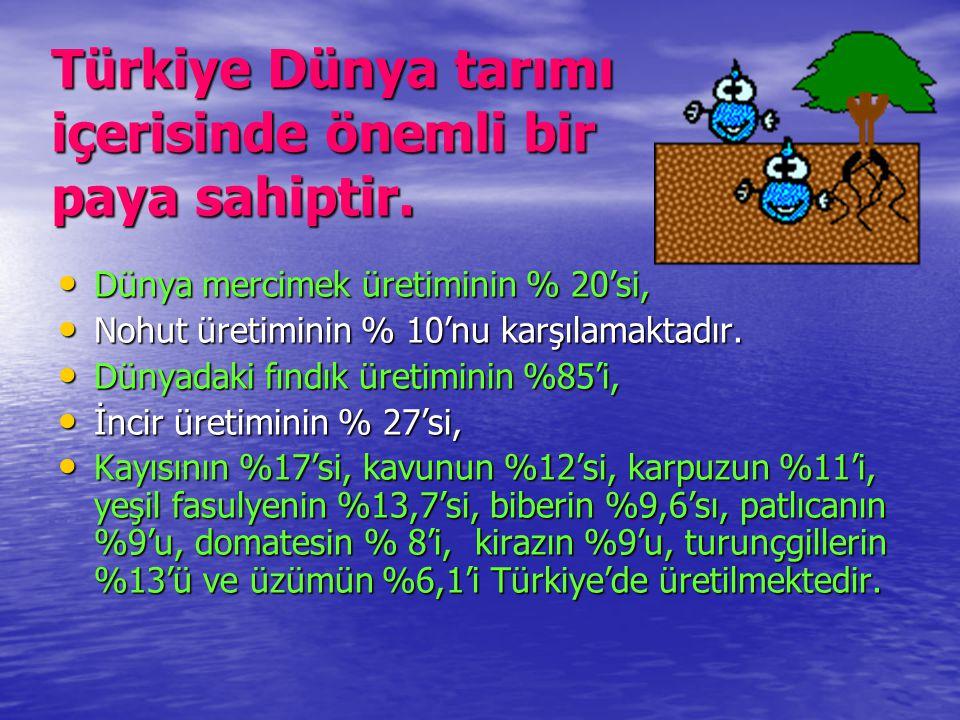 Türkiye Dünya tarımı içerisinde önemli bir paya sahiptir. • Dünya mercimek üretiminin % 20'si, • Nohut üretiminin % 10'nu karşılamaktadır. • Dünyadaki
